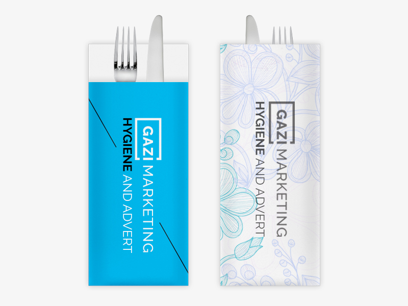 Disposable cutlery packaging: double-sided print