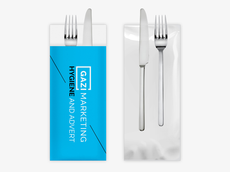 Disposable cutlery packaging: one-sided print